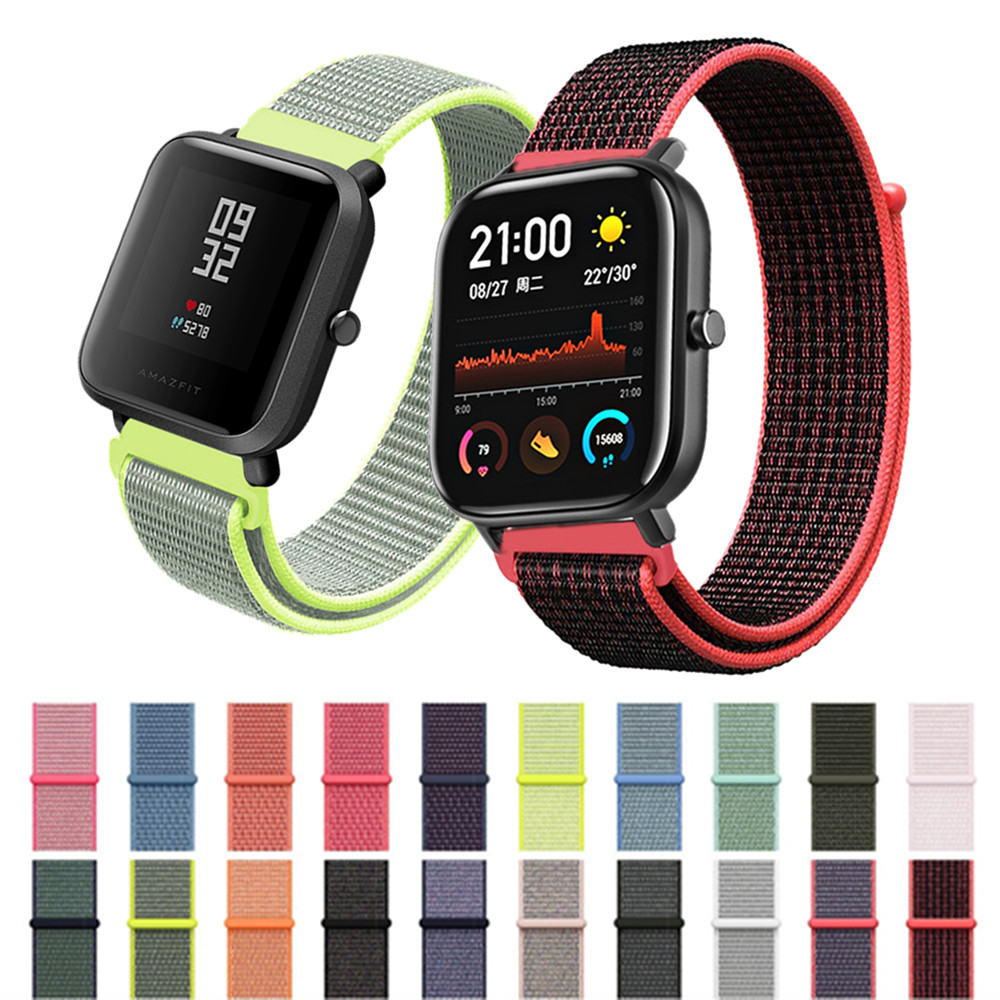 Nylon Canvas Bracelet For Xiaomi Amazfit GTS BIP GTR Wrist Strap For Huami Amazfit Pace Stratos 1/2/2S/3 20mm/22mm Watch Band