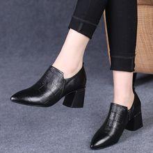 Cresfimix botas femininas women fashion black pointed toe square heel autumn short boots lady casual comfort spring boots a6036
