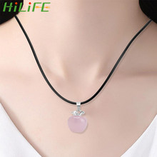 HILIFE Crystal Pendants Pink Jade Necklaces Fashion Jewelry For Female Women Gift Suspension Natural Rose Quartz Pink(China)