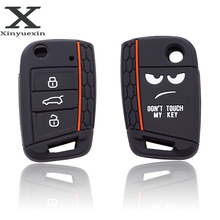 Xinyuexin لا تلمس بلدي مفتاح 3 أزرار سيارة حقيبة غطاء للمفاتيح ل VW Golf 7 MK7 مقعد 3 إيبيزا 4 أرونا Ateca سكودا اوكتافيا