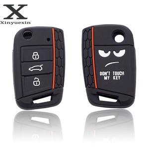 Image 1 - Xinyuexin לא מגע שלי מפתח 3 לחצנים רכב מפתח כיסוי מקרה עבור פולקסווגן גולף 7 MK7 מושב 3 איביזה 4 arona Ateca סקודה אוקטביה