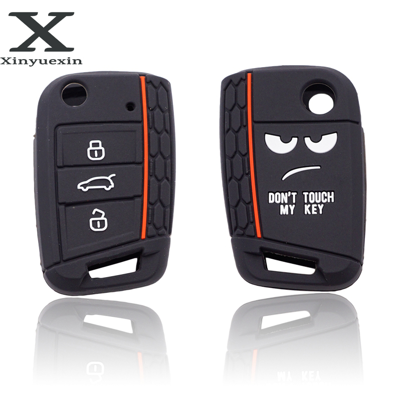 Xinyuexin Dont Touch My Key 3 Buttons Car Key Cover Case For VW Golf 7 MK7 Seat 3 Ibiza  4 Arona Ateca Skoda Octavia