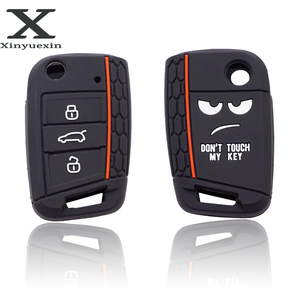 Image 1 - Xinyuexin Dont Touch My Key 3 Buttons Car Key Cover case For VW Golf 7 MK7 Seat 3 Ibiza  4 Arona Ateca Skoda Octavia