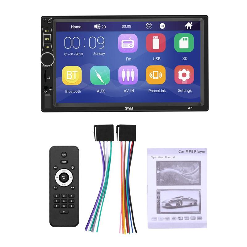 Double Din in-Dash Head Unit Car Stereo Audio Systems 7 inch Touch Screen MP5 Player FM Radio Compatible with Bluetooth 4.0 Support Rear-View Camera Mirror Link USB Port Aux Input MP3 Player