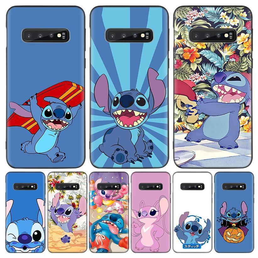 Disneys Stitchs Cute Black Cover Phone Case For Samsung Galaxy A51 A71 A10 A20E A30 A40 A50 A70 M30S A6 A7 A8 A01 Coque Shell