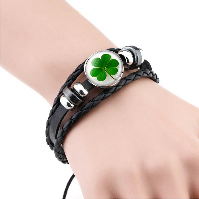 Black Leather Lucky Four-leaf Clover Snap Bracelet Glass Cabochon Weave Jewelry