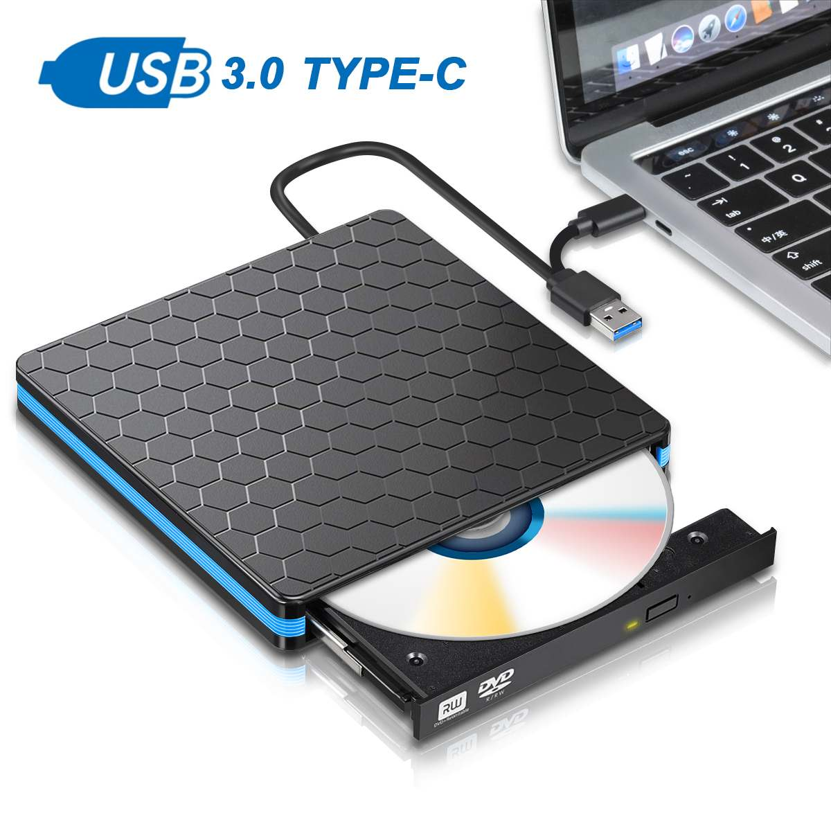 Tipo universal c usb 3.0 externo dvd/cd/vcd burner rw svcd drive player unidade óptica para mac/pc/apple portátil/os/windows