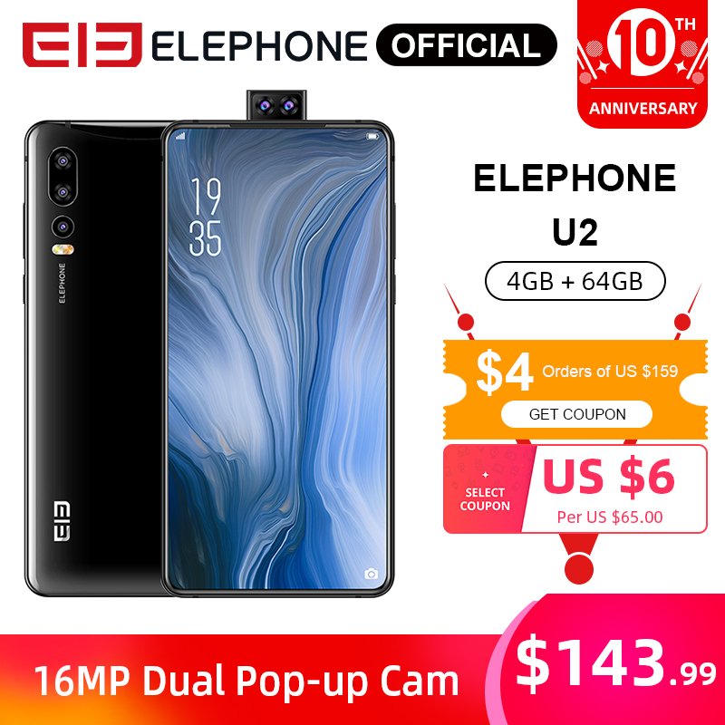 ELEPHONE U2 MT6771T Octa Core Mobile Phone 4G/6G 64G/128G 16MP Pop-up Cam 6.26