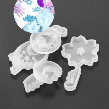 bear moon star shell fish tail hairpin silicone mold for jewelry resin jewelry making tool uv epoxy resin molds 1Pcs Star Moon Snowflakes Resin Epoxy Molds Casting Silicone UV Resin Molds For DIY Jewelry Making Findings Supplies Accessories