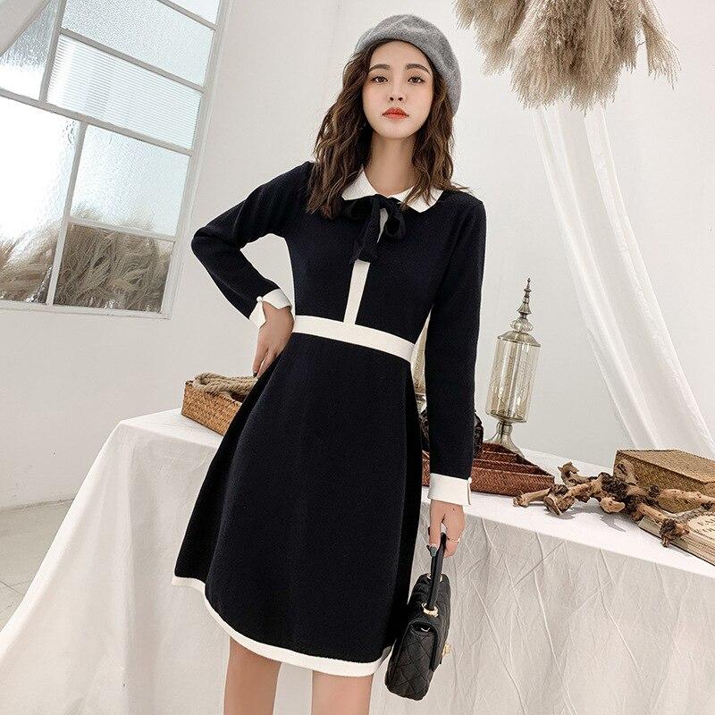 Dongguan Dalang Wool Autumn & Winter Graceful Peter Pan Collar High-waisted A- Line Skirt Jersey Dress Women's