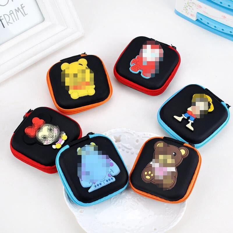 Cartoon Creative Storage Square Sling Bag Cute Purse Earphones Storage Bag Of Data Cable