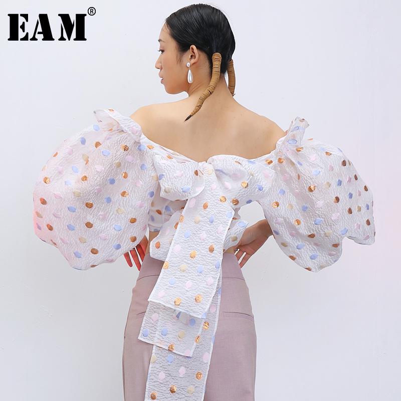 [EAM] Women Dot Printed Bandage Bow Blouse New Slash Neck Half Puff Sleeve Loose Fit Shirt Fashion Tide Spring Summer 2020 1T912