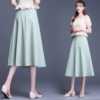 New Office Ladys Solid Color Skirts Women Elegant  Midi Skirts Female  A Line  High Waist Fashion Skirt цена 2017