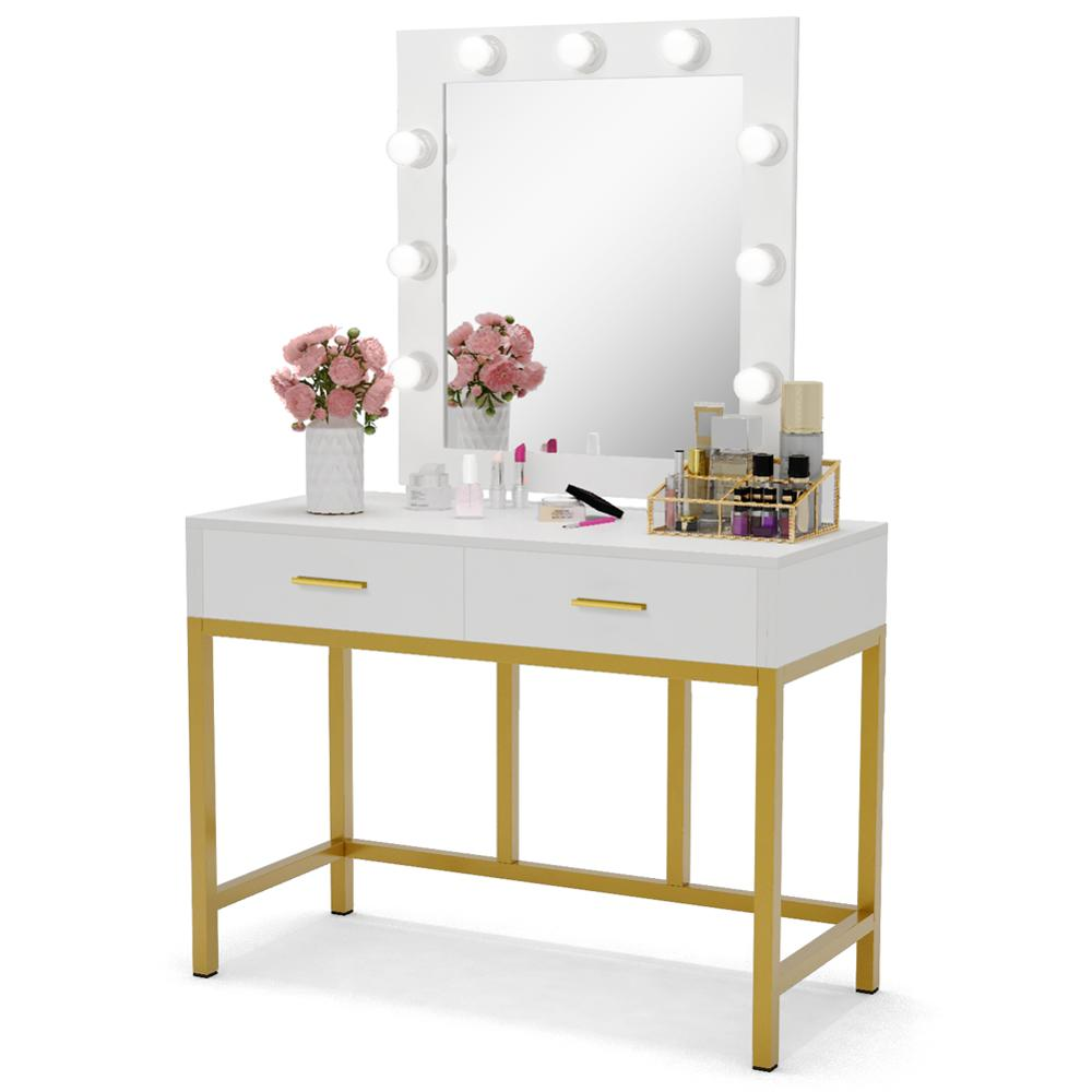 Tribesigns Vanity Table With Lighted Mirror, Makeup Vanity Dressing Table With 9 Lights And 2 Drawers For Women