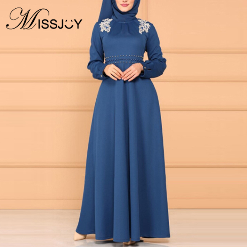 MISSJOY 2019 Muslim Women Dress Party Elegant Abaya High Waist Middle Eastern Long Sleeves Patch Turkish Kimono Islamic Clothing