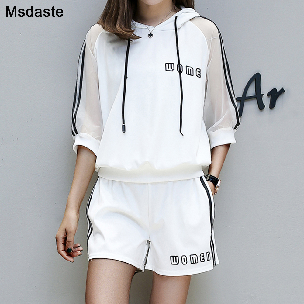 Summer Women Tracksuits 2019 Casual Ladies Clothing Set 2 Pieces:tee Shirt Top+shorts Casual Plus Size M~3XL Female Sportswear