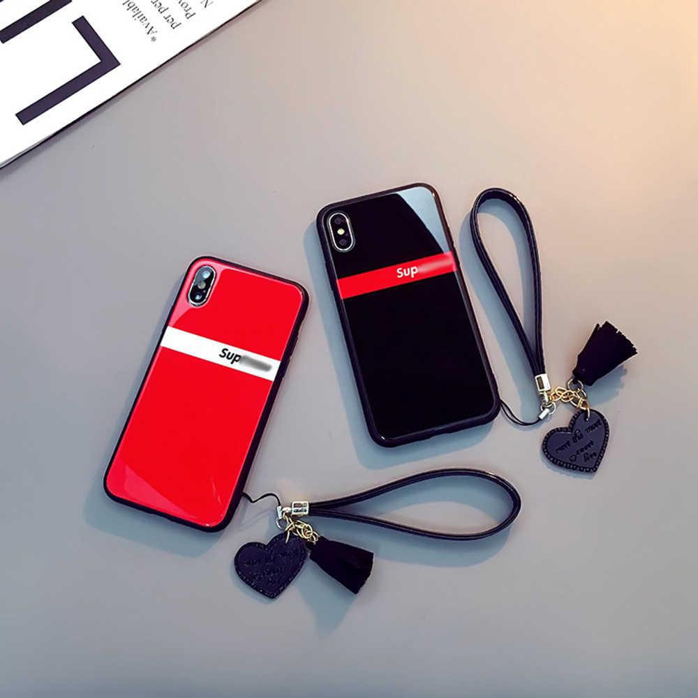 Funda de cristal templado de lujo para iPhone Xr Xs Max borla cordón amor corazón funda para iPhone 7 8 6s fundas a prueba de golpes
