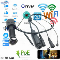 1080P POE Wi Fi Door Eye Hole Home Mini Peephole IP Camera 1.78MM Fisheye Lens Motion Sensor Wireless Video Camera TF Card/Audio