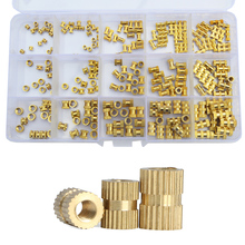 M2 M3 M4 M5 Brass Knurl Nut Female Thread Insert Embedment Cylinder Injection Molding Copper Nutsert Assortment Kit Set 330pcs