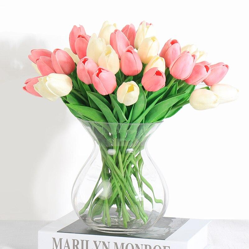 28 Pcs Tulip Flores Artificiales Blume Latex Tulipany Schönheit Für Immer Hochzeit Luxus Wohnkultur Fallen Dekorationen Valentine Geschenk