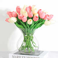 28 Uds. Tulipán Flores Artificiales flor de látex Tulipany belleza para siempre boda de lujo decoración del hogar decoraciones de otoño regalo de San Valentín
