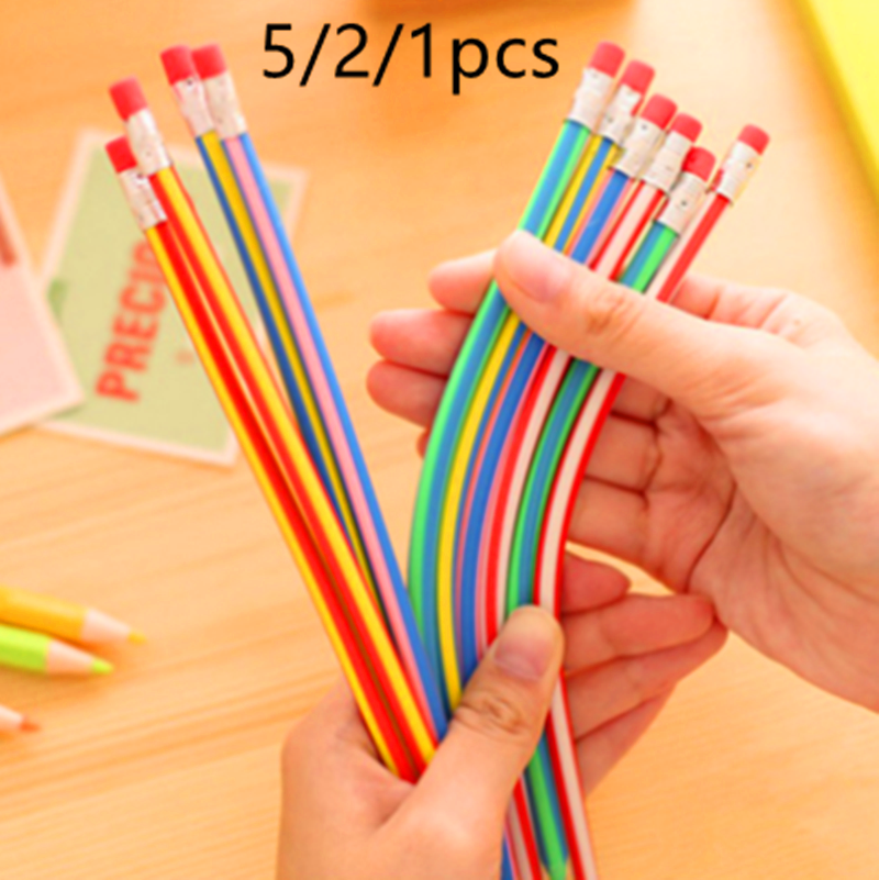 5/2/1pcs Creative Colorful Magic Bendy Flexible Soft Pencil with Eraser Stationery Student Colored Pencils School Office Supplie