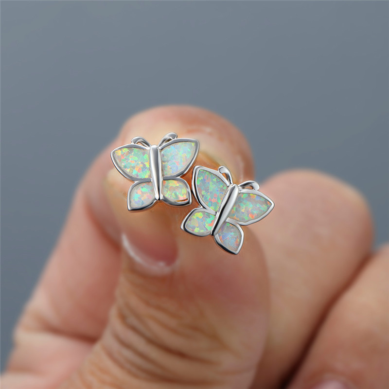 Cute Female White Opal Stud Earrings Classic Butterfly Small Animal Earrings Charm Silver Color Wedding Earrings For Women