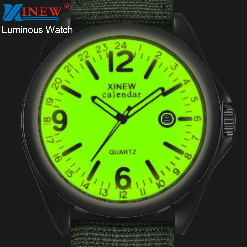 XINEW Men Watches Fashion Military Watches Men Glow Luminous Watch Nylon Strap Quartz Watches Men Sports Watches Horloge Man
