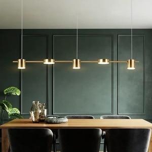 Image 1 - הפוסטמודרנית זהב או שחור LED נברשת אוכל חדר ארוך תליון מנורת נורדי בר קפה חנות בית דקו תאורה תליית גופי