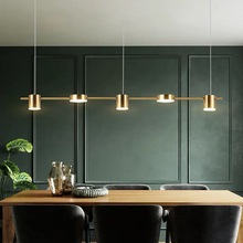 Postmodern Gold or Black LED Chandelier Dining Room Long Pendant Lamp Nordic Bar Coffee Shop Home Deco Lighting Hanging Fixtures