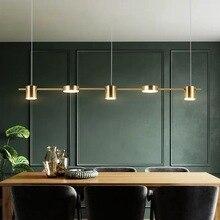 Postmodern altın veya siyah LED avize yemek odası uzun kolye lamba Nordic Bar kahve dükkanı ev Deco aydınlatma asılı fikstür