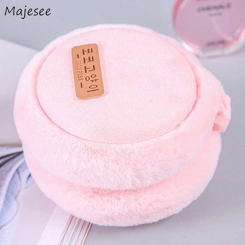 Earmuffs Women Pink Kawaii Sweet Girls Simple Warm Soft Winter Ear Warmer Womens All-match Korean Style High Quality Casual New