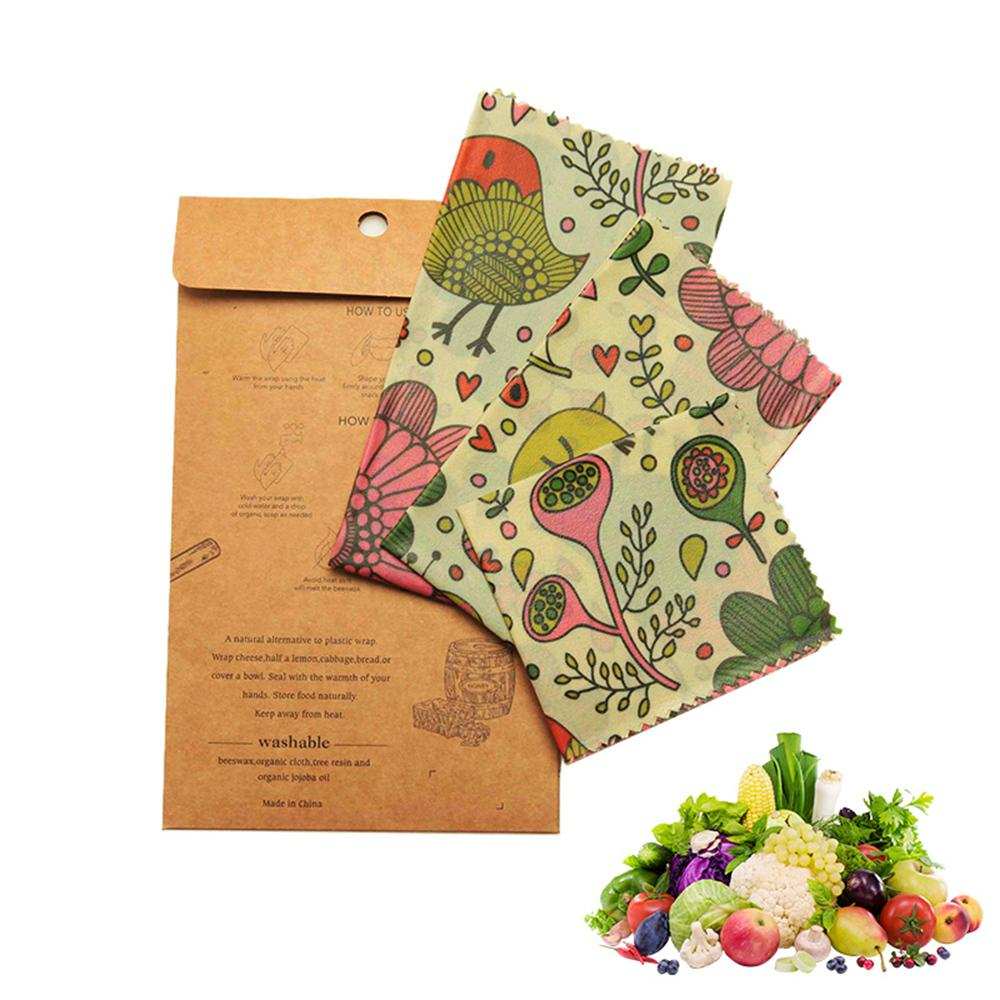 3pcs Reusable Beeswax Food Wraps Zero Waste Eco Friendly Food Storage Wrappers Kit for Sandwiches Cheese Food Wrapping Paper|Saran Wrap & Plastic Bags| |  - title=