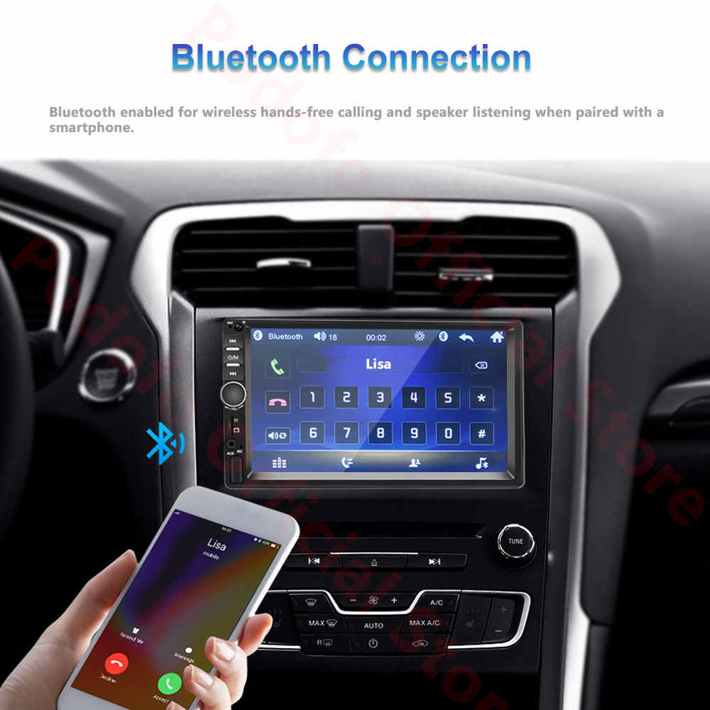 Podofo أندرويد 2 الدين راديو السيارة ذاكرة الوصول العشوائي 2GB + ROM 32GB أندرويد 7 ''2Din راديو السيارة Autoradio لتحديد المواقع مشغل وسائط متعددة لفورد فولكس فاجن جولف