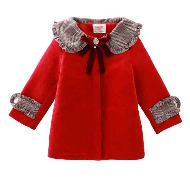 3Color Girls Winter Warm Coats&Jacket,Children Winter High quality Solid Long sleeve Wool coat,Baby Girls Outwear For 3 8Yrs