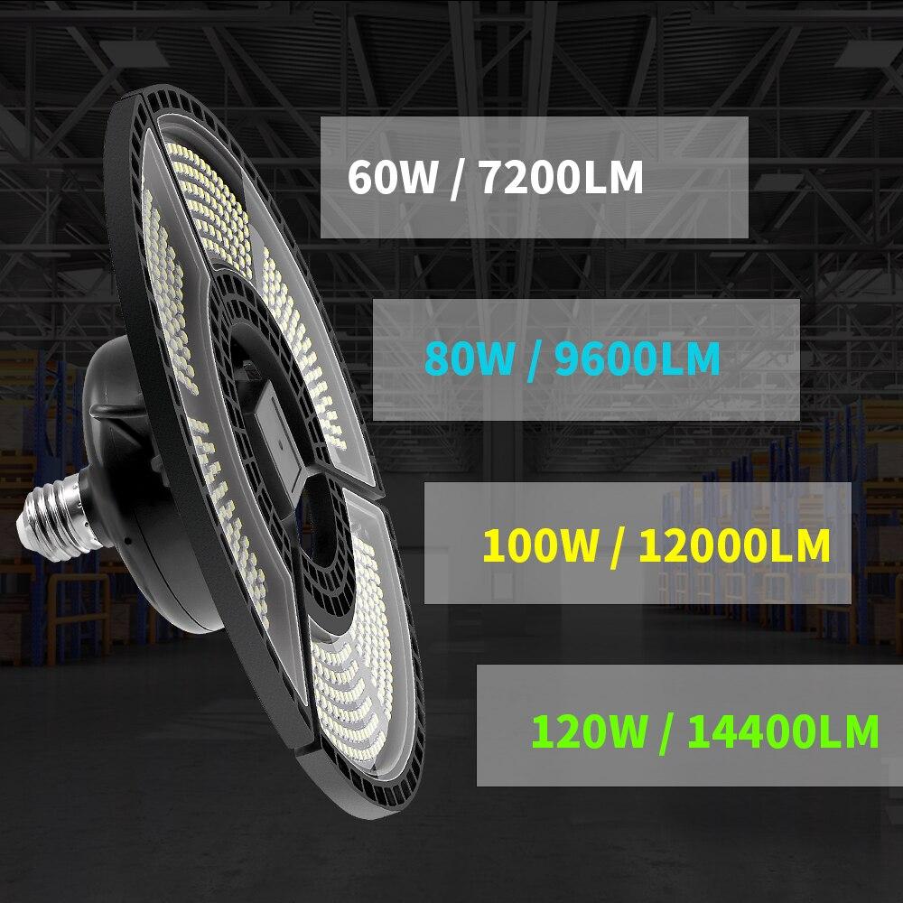 UFO LED Lamp 60W 80W 100W 120W E27 Garage Light Sensor LED Bulb 220V E26 Deformable LED Light 110V Waterproof Outdoor Lighting