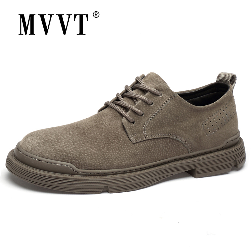 MVVT New Genuine Leather Casual Shoes Men Suede Oxfords Men Breathable Flats Shoe Hot Sale Moccasins Shoes