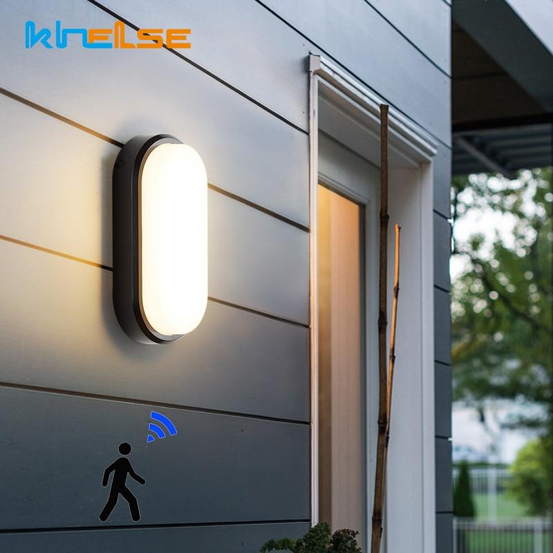 PIR Motion Sensor Outdoor Waterproof Wall Lamps IP54 Aisle Balcony Porch Lights 16W 20W Oval Moisture Lamp Bathroom Toilet Decor