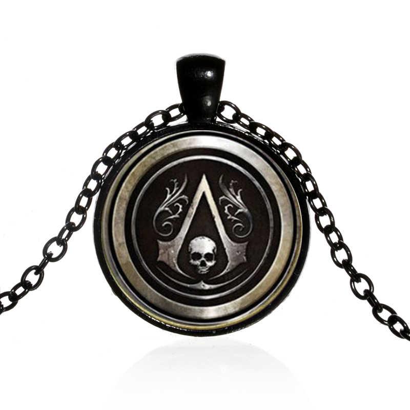 Songda Thoáng Mát Assassins Creed Vòng Tín Ngưỡng Huy Hiệu Kính Thời Gian Đá Quý Mặt Dây Chuyền Màu Đen Dài Dây Chuyền Nam Nữ Punk Trang Sức