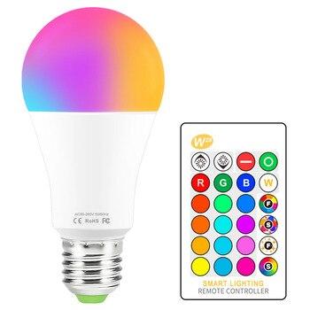 LED Light Bulb RGB 16 Color Changing Magic Bulb 5W 10W 15W 110V 220V E27 RGB LED Bulb Lights IR Remote Control + Memory Mode new rgb led lamp 3w 5w 7w e27 rgb led light bulb 110v 220v smd5050 multiple color remote control rgb lampada led a65 a70 a80