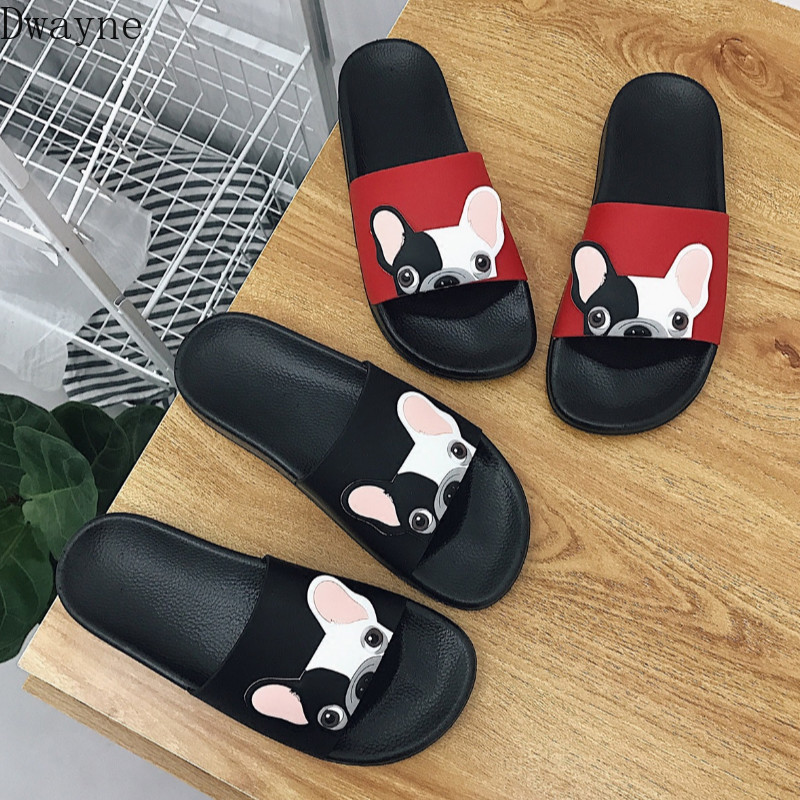 Cute Cartoon Dog Women Slides 2018 Fashion Pu Leather Beach Shoes Woman Flat Heels Flip Flops Barefoot Slippers Woman