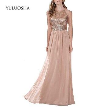 YULUOSHA New Sexy Bridesmaid Dresses Halter Sleeveless Sequin Long Slim Chiffon Wedding Party Formal Gowns Vestidos De Festa