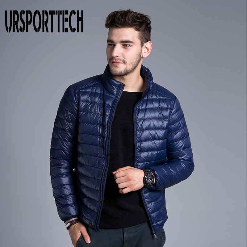 URSPORTTECH Brand Autumn Winter Light Down Jacket Men's Fashion Short Large Ultra-thin Lightweight Youth Slim Coat Big Size 3XL