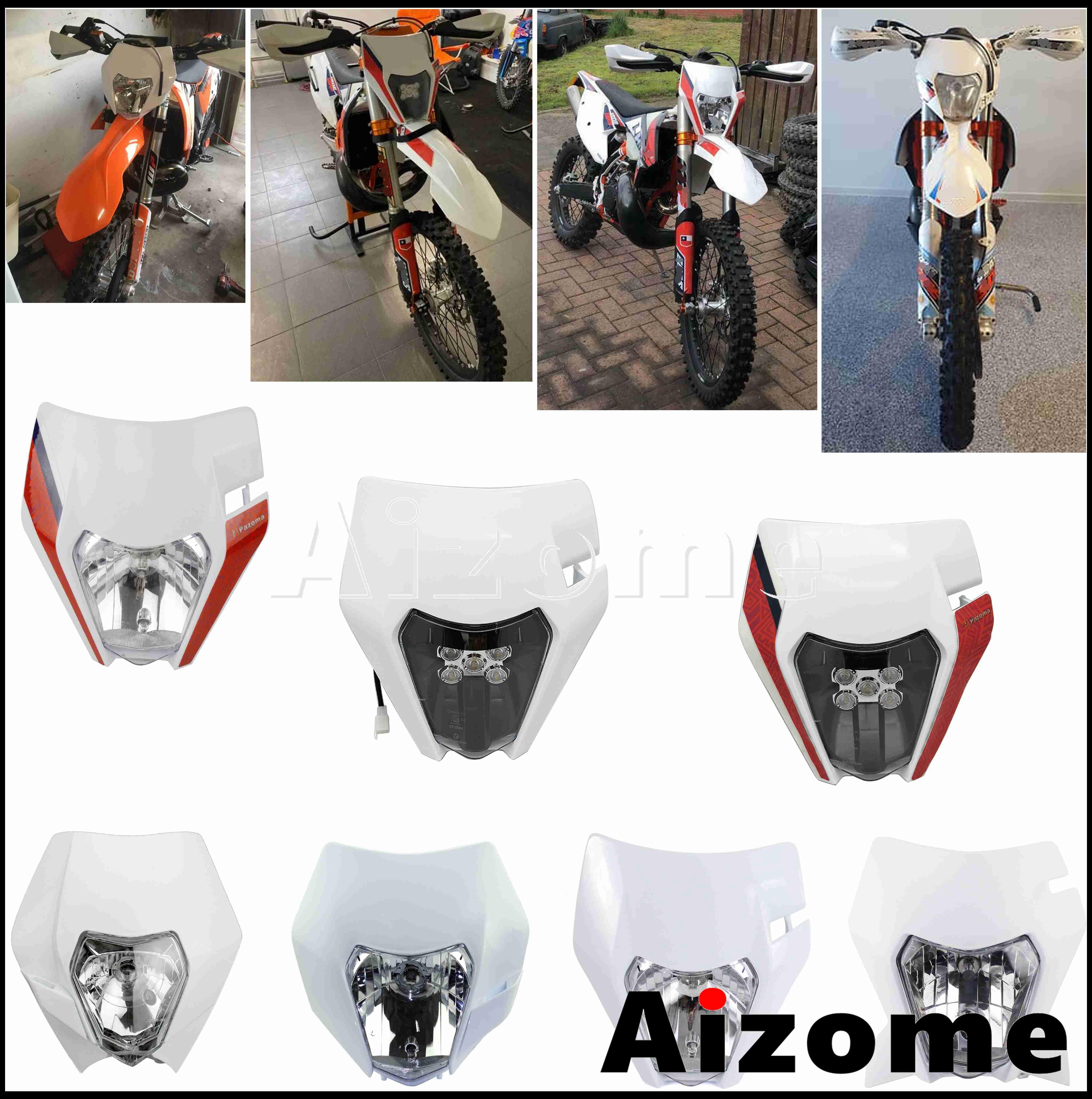 Weiß Enduro Scheinwerfer Maske MX Dirt Naked Bike LED Scheinwerfer Beleuchtung für EXC 500 EXC Sechs Tage 450 XC-W 200 EXCF XC-F SX SX-F 125