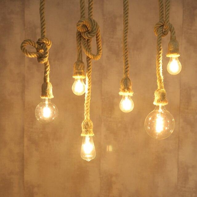Hemp Rope Pendant Lights Vintage Retro Loft Industrial Hanging Lamp for Living Room Kitchen Home Light Fixtures Decor Luminaire Home Decor & Toys