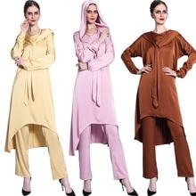 Muslim Women 2PCS Abayas Set Hoodedn Tops Pants Islamic Clothing Eid Ramadan Outfits Satin Dubai Middle East Moroccan Kaftan New