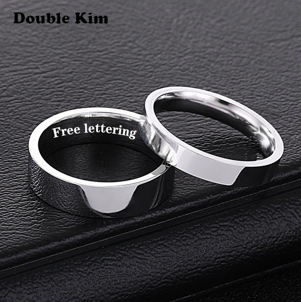 Custom I LOVE YOU Couple Rings DIY Engrave Name Stainless Steel Wedding Rings For Lover Anniversary Jewelry Gift Free Lettering
