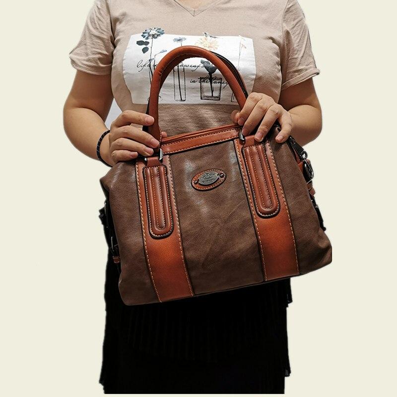 Image 3 - New Ladies Genuine Leather Shoulder Bag Large Capacity Vintage Women's Handbags Luxury Design Women Business Trip Big Tote Bags-in Top-Handle Bags from Luggage & Bags