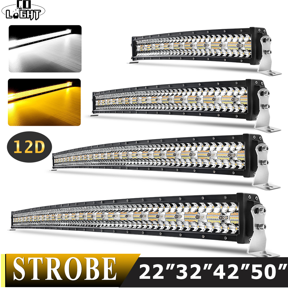 CO LIGHT 22 32 42 50 inch Curved Led Light Bar Strobe Combo 390W 585W 780W 936W 3-Row for Driving Offroad Car Truck 4x4 SUV 12V