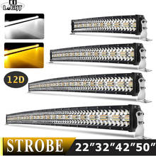 CO LIGHT 22 32 42 50 inch Curved Led Light Bar Strobe Combo 390W 585W 780W 936W 3 Row for Driving Offroad Car Truck 4x4 SUV 12V